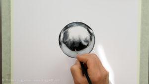 Metallkugel malen - Mit Schwarz den Kontrast erhöhen