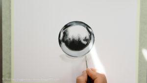 Metallkugel malen - Das Helle des Schattens