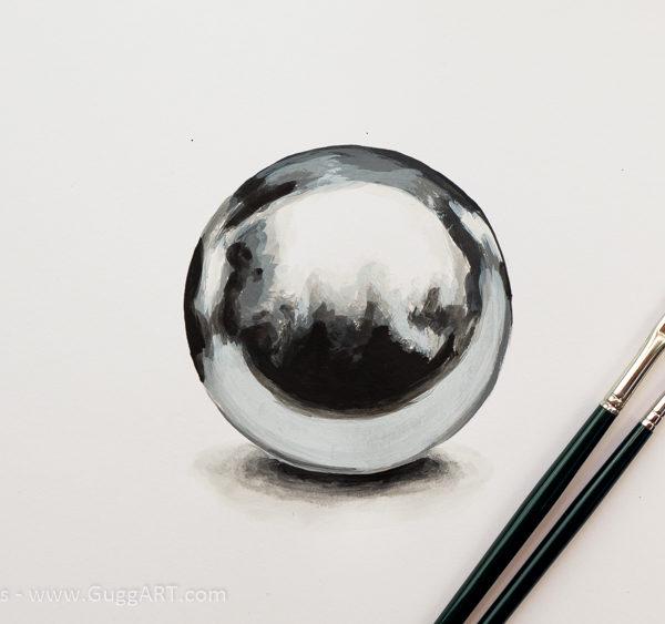 Metallkugel malen - Acrylmalerei Schritt für Schritt