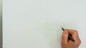 Pilze malen - Die Pilze werden vorgezeichnet