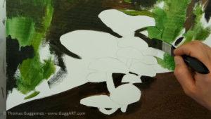 Pilze malen - Holzstamm und Hintergrund bekommen die ersten Farben
