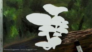 Pilze malen - Holzstamm erhält eine Maserung