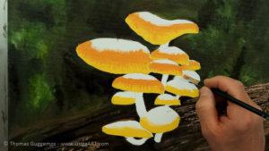 Pilze malen - Schirme werden orange und erhalten Strahlenmuster