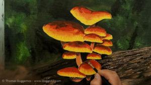 Pilze malen - Mit braun werden die dunkelsten Bereiche der Schirme bemalt