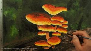 Pilze malen - Der Saum an den Schirmrändern wird mit einem hellen Gelb bearbeitet
