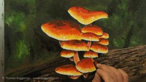 Pilze malen - Die Glanzlichter entstehen
