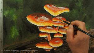 Pilze malen - Lichtspiegelungen werden auf die Schirme gemalt