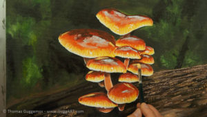 Pilze malen - Spiegelungen der anderen Schirme werden gemalt