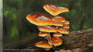 Pilze malen - Dunkle Flecken in den Stielen werden gestaltet