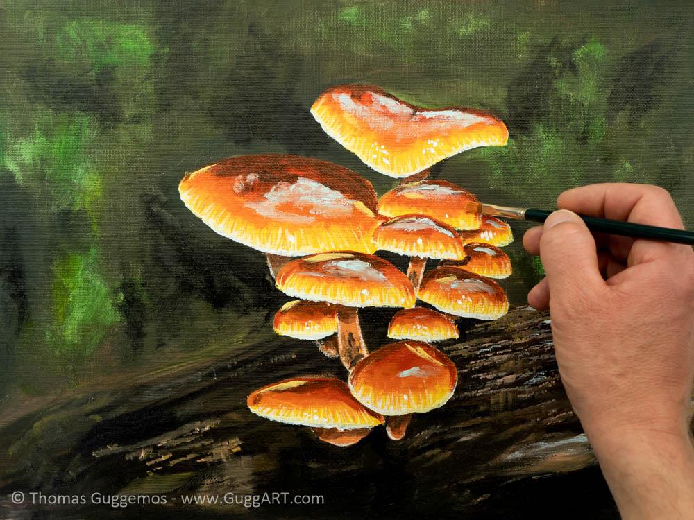 Pilze malen mit Acrylfarbe - Schritt für Schritt Anleitung