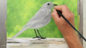 Vogel malen mit Acrylfarbe - Das Gefieder wird ins Dunkle abgestuft