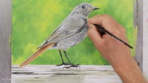 Vogel malen mit Acrylfarbe - Feinheiten