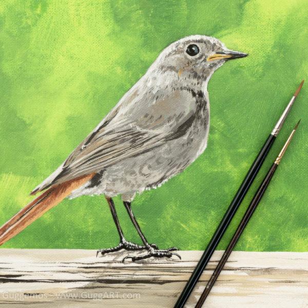 Vogel malen mit Acryl