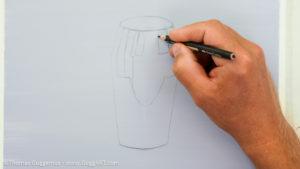 Gold-Effekt malen mit Acrylfarbe - Die Skizze