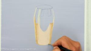 Gold-Effekt malen mit Acrylfarbe - Gewölbte Optik