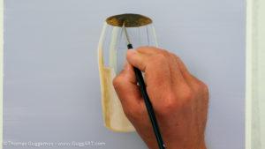 Gold-Effekt malen mit Acrylfarbe - Die Innenseite