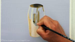 Gold-Effekt malen mit Acrylfarbe - Die Spiegelungen