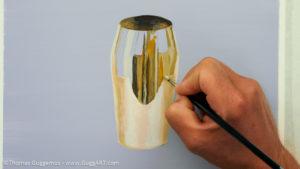 Gold-Effekt malen mit Acrylfarbe - Gespiegelte Umgebung