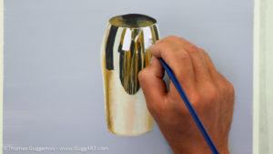 Gold-Effekt malen mit Acrylfarbe - Glanzlichter gestalten