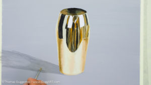 Gold-Effekt malen mit Acrylfarbe - Schatten malen