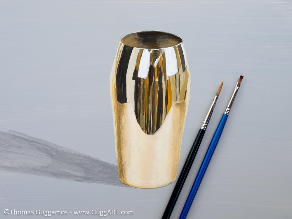 Gold-Effekt malen mit Acrylfarbe - Goldener Becher