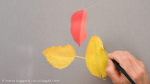 Herbstlaub malen mit Acrylfarbe - Die Grundfarben