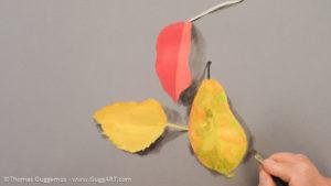 Herbstlaub malen mit Acrylfarbe - Der Schatten
