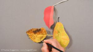 Herbstlaub malen mit Acrylfarbe - Die Oberfläche des zweiten Blattes