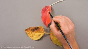 Herbstlaub malen mit Acrylfarbe - Weiter Farben des roten Blattes