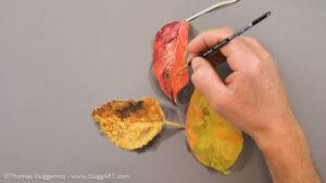 Herbstlaub malen mit Acrylfarbe - Weitere Details