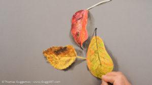 Herbstlaub malen mit Acrylfarbe - Feine Adern