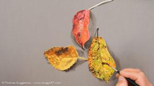 Herbstlaub malen mit Acrylfarbe - Dunkle Flecken