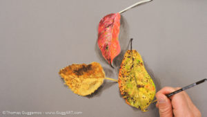 Herbstlaub malen mit Acrylfarbe - Gezackte Kontur