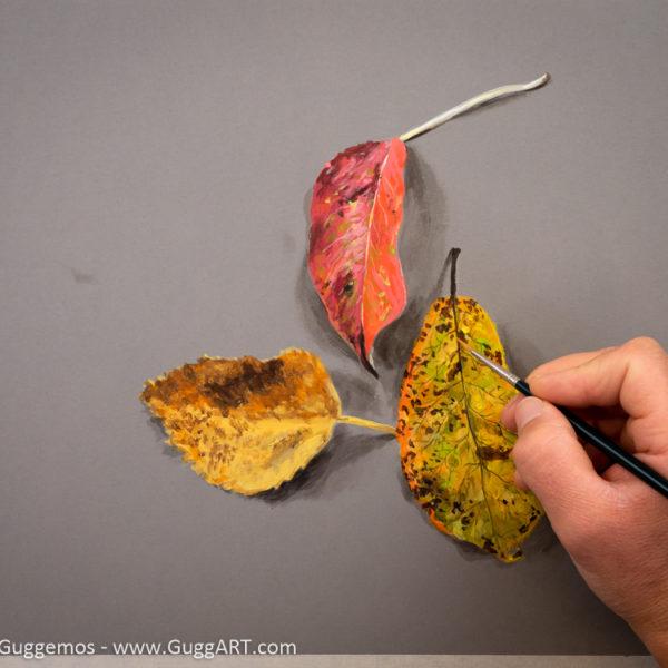 Herbstlaub malen mit Acrylfarbe